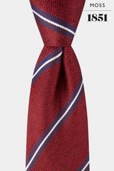 Moss 1851 Red/Navy Striped Tie