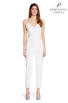 Adrianna Papell White Knit Crepe Ruffled Jumpsuit