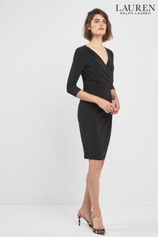 Lauren By Ralph Lauren Black Electra 3/4 Sleeve Dress