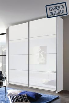 Courtney White Glass 1.81m Sliding Wardrobe by Rauch