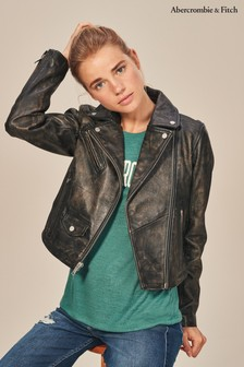 Abercrombie & Fitch Black Leather Biker Jacket