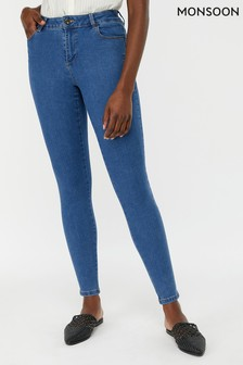 Monsoon Ladies Blue Nadine Over Lap Pocket Regular Jean