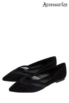 Accessorize Black Mesh Insert Point Shoe