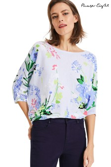 Phase Eight Blue Madalena Meadow Print Knit