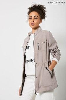 Mint Velvet Beige Minimal Utility Jacket
