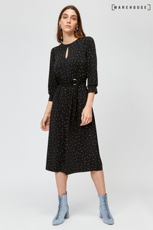 Warehouse Black Star Print Midi Dress