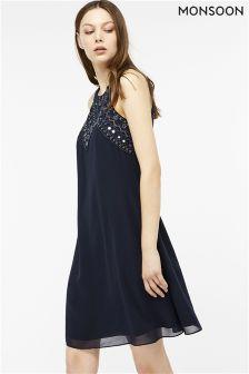 Monsoon Blue Marianne Embellished Short Dress
