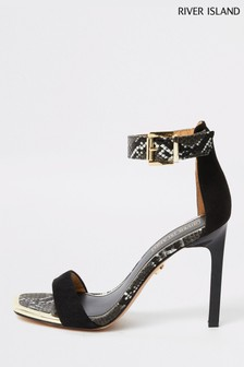 River Island Black Snake Barely There Heeled Sandal