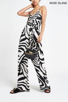 River Island White Print Jumpsuit