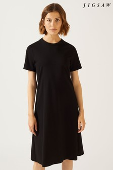 Jigsaw Black Crew Neck Ponte Dress