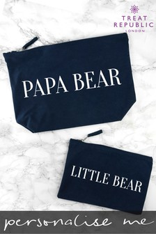 Personalised Daddy And Me Navy Wash Bags by Treat Republic