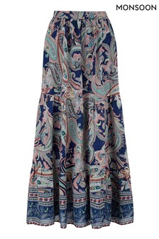 Monsoon Blue Paisley Print Midi Skirt