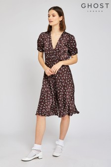Ghost London Brown Sabrina Brown Floral Print Satin Dress