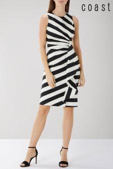 Coast Black Abigail Stripe Cotton Shift Dress