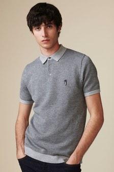 Вязаная рубашка поло с коротким рукавом и узором «гусиная лапка»