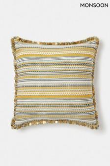 Monsoon Ochre Stripe Sequin Cushion