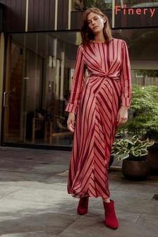 Finery London Pink Akari Garnet Striped Satin Dress