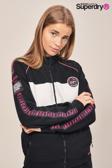 Superdry Black/White Zip Up Track Top