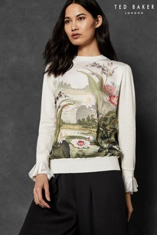 Ted Baker Ivory Woven Front Sweater