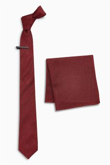 Metallised Fibre Tie And Pocket Square With Tie Clip