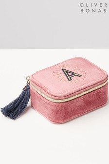 Oliver Bonas Sol Pink Velvet Alphabet A Travel Jewellery Box