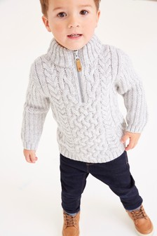 High Neck Cable Jumper (3mths-7yrs)