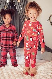 Set de două pijamale de Crăciun din pluș (9 luni - 12 ani)