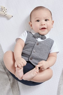Smart Bow Tie Romper (0mths-2yrs)