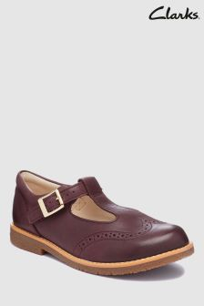Clarks Burgundy Leather Brogue T-Bar Toddler Shoes