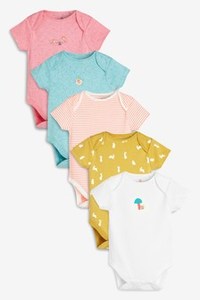 Woodland Short Sleeve Bodysuits Five Pack (0mths-2yrs)