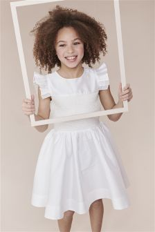 Smocked Pearl Effect Bodice Bridesmaid Dress (3-14yrs)