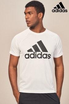 adidas Gym White D2M Logo Tee