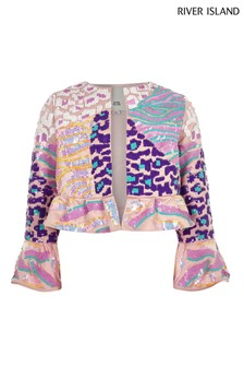 River Island Pink Embellished Jacket