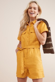 Pure Linen Utility Playsuit