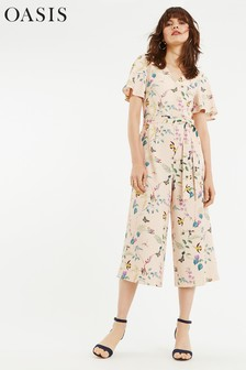 Oasis Natural Bloom Angel Sleeve Jumpsuit