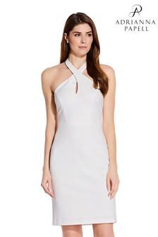 Adrianna Papell White Ottoman Halter Sheath Dress