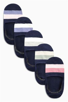 Colourblock Invisible Trainer Socks Five Pack
