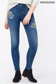 Monsoon Indigo Afina Embroidered Skinny Jean