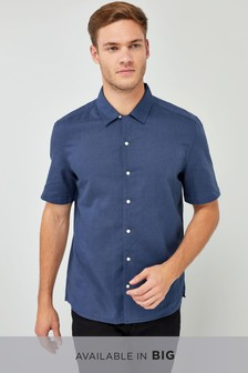 Short Sleeve Linen Blend Revere Shirt