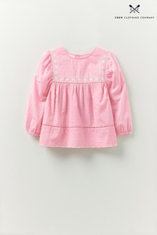 Crew Clothing Company Pink Long Sleeve Smock Woven Top