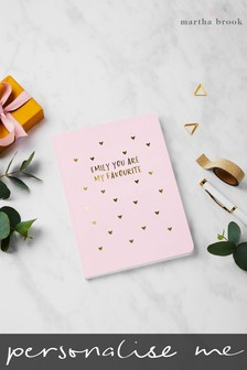 Personalised Gold Hearts Notebook by Martha Brook
