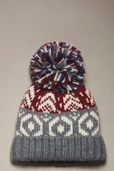 Fairisle Pattern Bobble Beanie (Older)