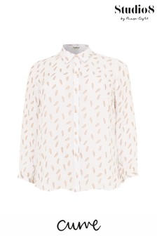 Studio 8 White Etta Foil Print Top
