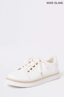 River Island White Clean Lace-Up Trainer