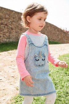 Unicorn Embroidered Pinafore Set (3mths-6yrs)