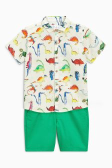 Dinosaur Printed Shirt And Short Set (3mths-6yrs)