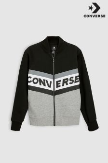 Converse Black Chevron Zip Through Varsity Jacket