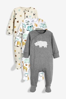 3 Pack Rhino Appliqué Sleepsuits (0mths-2yrs)
