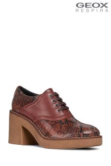 Geox Adrya Mid Brown Heeled Shoe