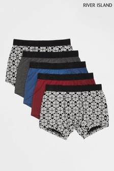 River Island Red Celtic Print Briefs Five Pack